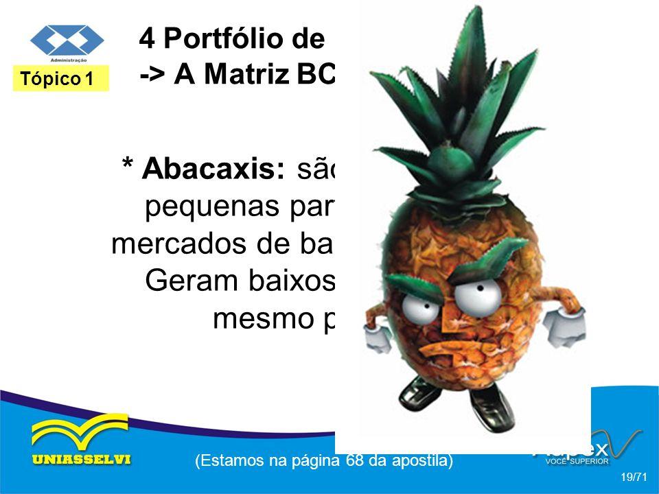 4 Portfólio de Negócios -> A Matriz BCG * Abacaxis: são negócios com pequenas participações em mercados de baixo crescimento. Geram baixos lucros ou a