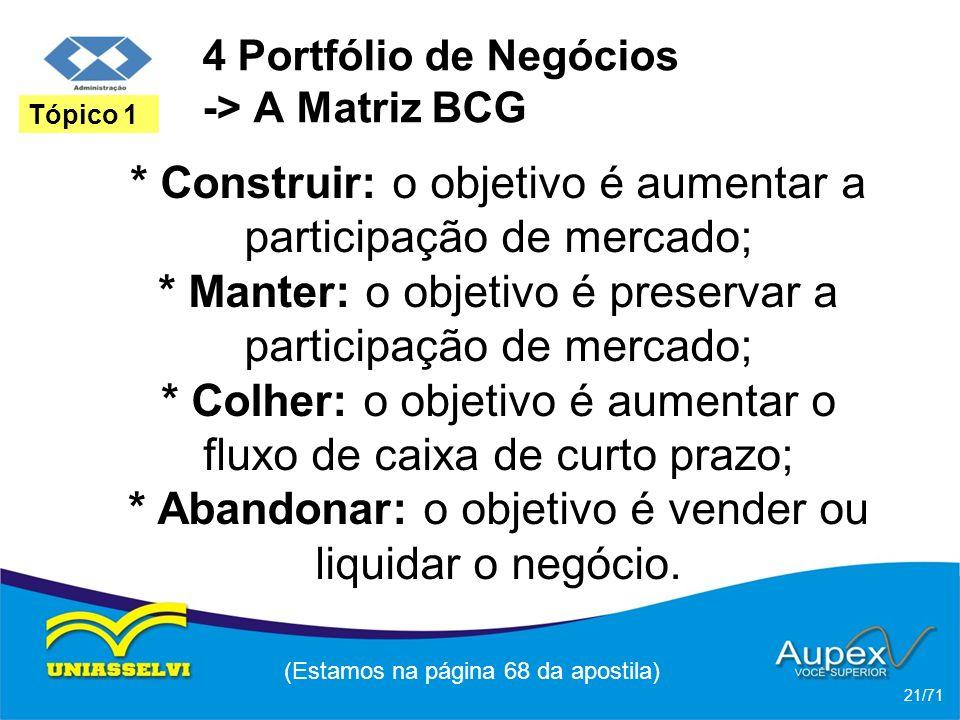 4 Portfólio de Negócios -> A Matriz BCG * Construir: o objetivo é aumentar a participação de mercado; * Manter: o objetivo é preservar a participação