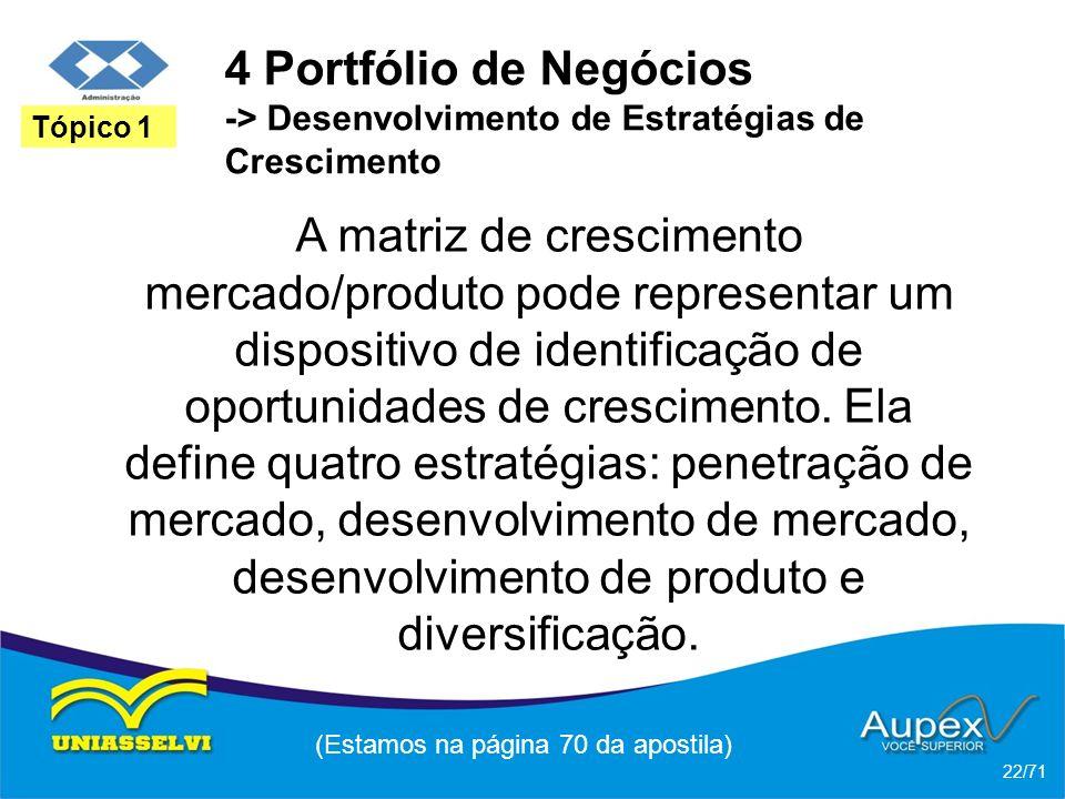4 Portfólio de Negócios -> Desenvolvimento de Estratégias de Crescimento A matriz de crescimento mercado/produto pode representar um dispositivo de id