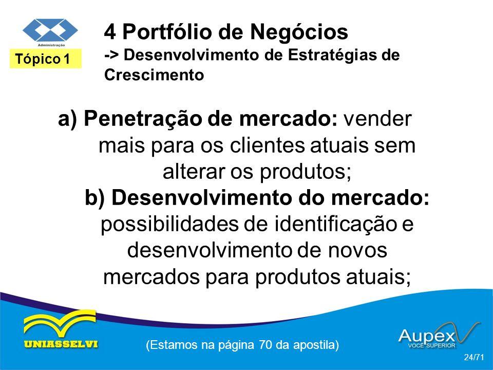 4 Portfólio de Negócios -> Desenvolvimento de Estratégias de Crescimento a) Penetração de mercado: vender mais para os clientes atuais sem alterar os