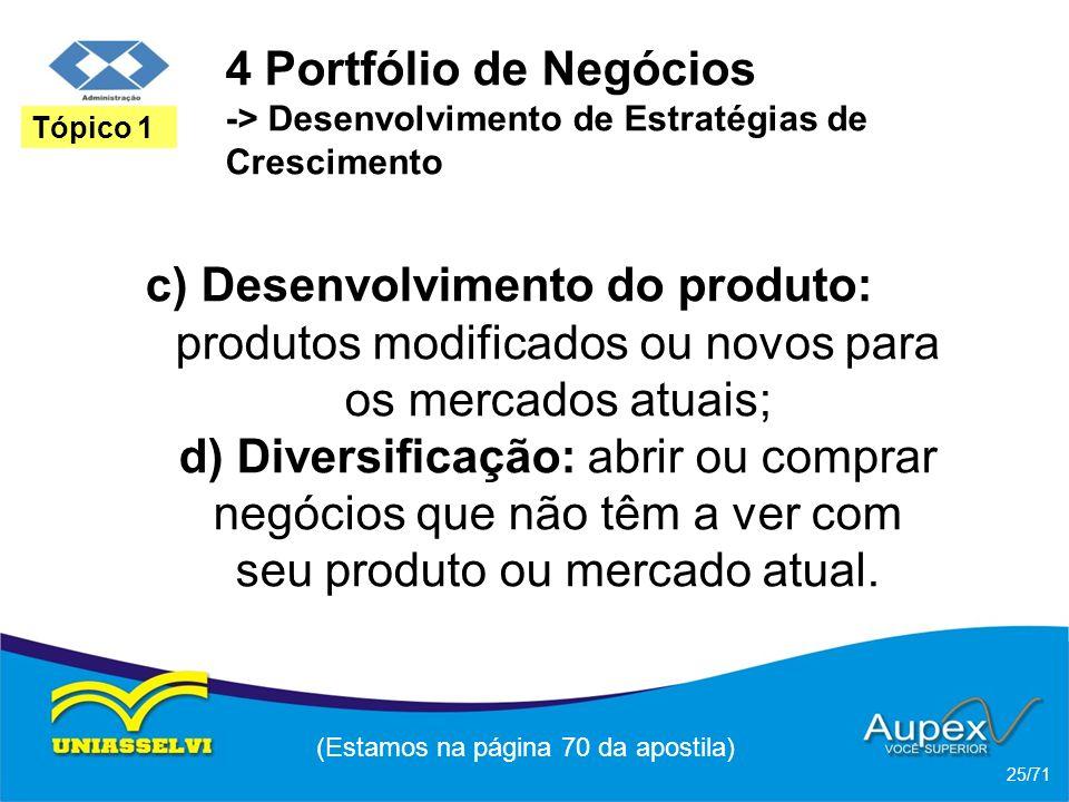 4 Portfólio de Negócios -> Desenvolvimento de Estratégias de Crescimento c) Desenvolvimento do produto: produtos modificados ou novos para os mercados