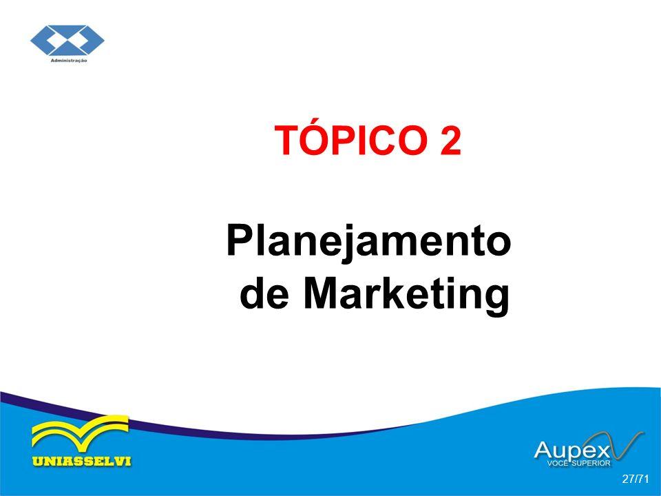 TÓPICO 2 Planejamento de Marketing 27/71
