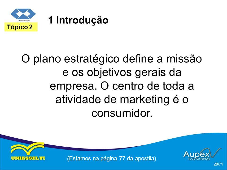1 Introdução O plano estratégico define a missão e os objetivos gerais da empresa. O centro de toda a atividade de marketing é o consumidor. (Estamos