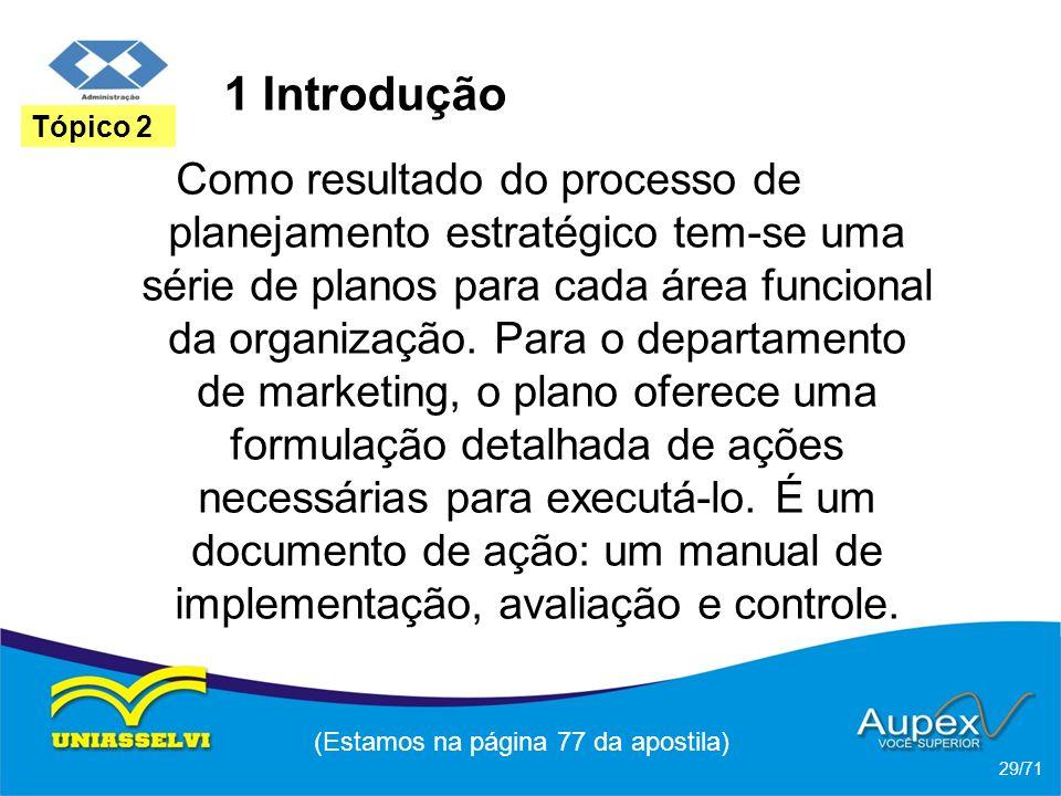1 Introdução Como resultado do processo de planejamento estratégico tem-se uma série de planos para cada área funcional da organização. Para o departa