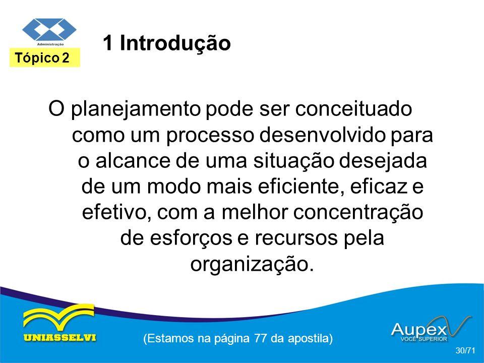 1 Introdução O planejamento pode ser conceituado como um processo desenvolvido para o alcance de uma situação desejada de um modo mais eficiente, efic