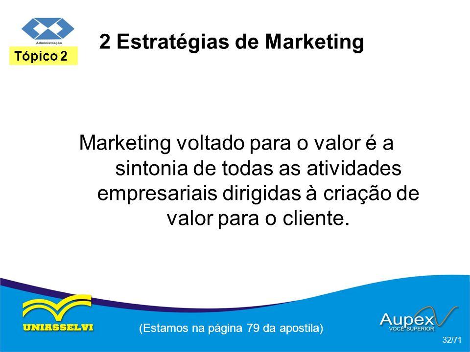 2 Estratégias de Marketing Marketing voltado para o valor é a sintonia de todas as atividades empresariais dirigidas à criação de valor para o cliente