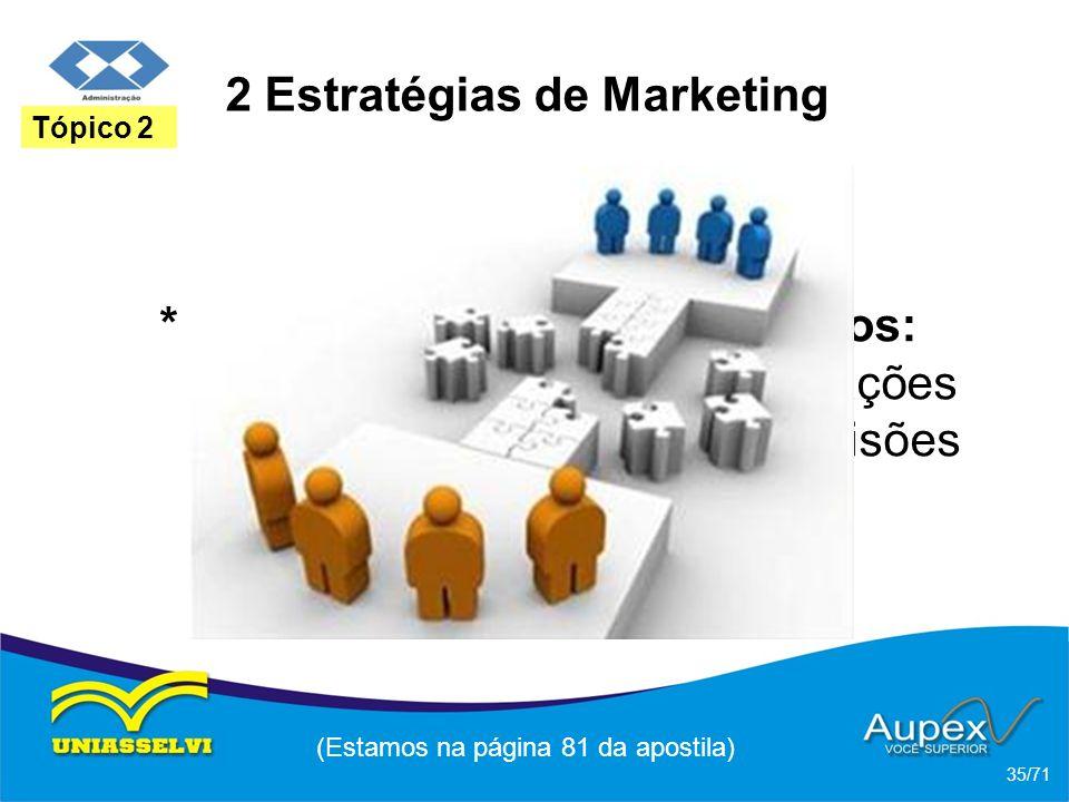 2 Estratégias de Marketing * Marketing com banco de dados: transformar dados em informações para ajudar na tomada de decisões de marketing. (Estamos n