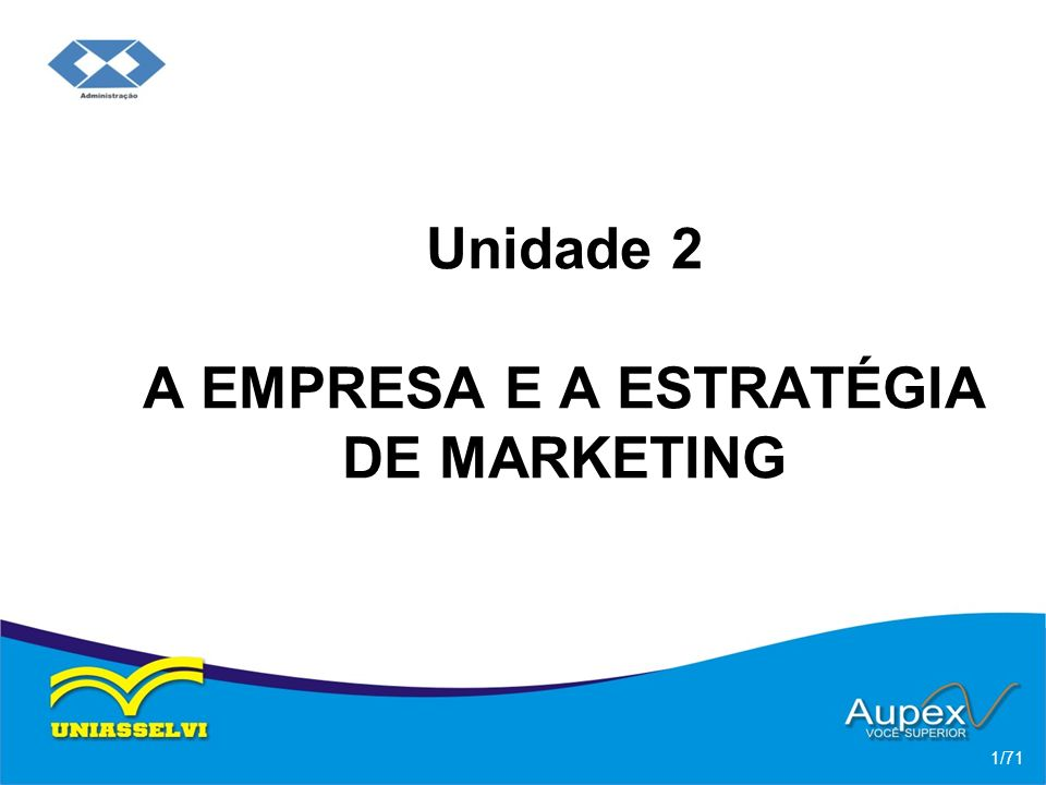 Unidade 2 A EMPRESA E A ESTRATÉGIA DE MARKETING 1/71