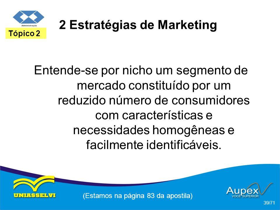 2 Estratégias de Marketing Entende-se por nicho um segmento de mercado constituído por um reduzido número de consumidores com características e necess