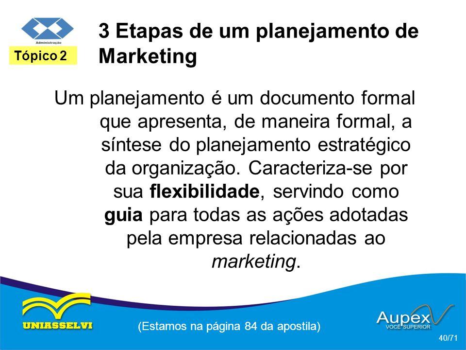3 Etapas de um planejamento de Marketing Um planejamento é um documento formal que apresenta, de maneira formal, a síntese do planejamento estratégico