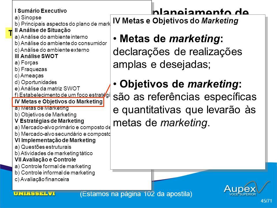 3 Etapas de um planejamento de Marketing -> Esquema de um plano de marketing (Estamos na página 102 da apostila) 45/71 Tópico 2 Ferrel; Hartline (2005