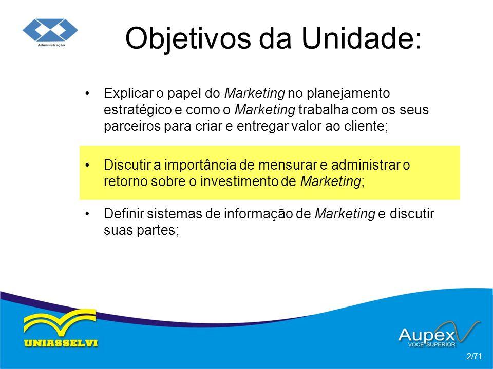 Objetivos da Unidade: Explicar o papel do Marketing no planejamento estratégico e como o Marketing trabalha com os seus parceiros para criar e entrega