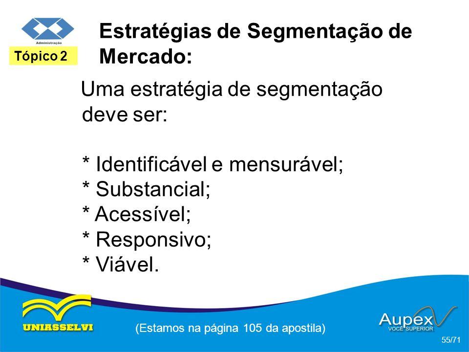 Estratégias de Segmentação de Mercado: Uma estratégia de segmentação deve ser: * Identificável e mensurável; * Substancial; * Acessível; * Responsivo;