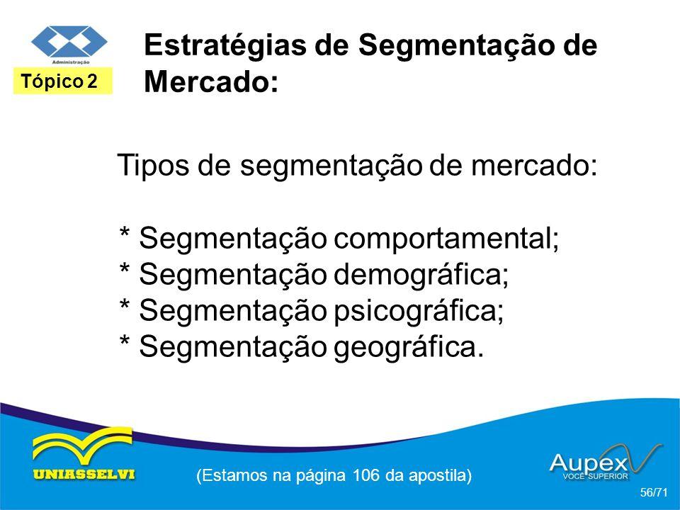 Estratégias de Segmentação de Mercado: Tipos de segmentação de mercado: * Segmentação comportamental; * Segmentação demográfica; * Segmentação psicogr