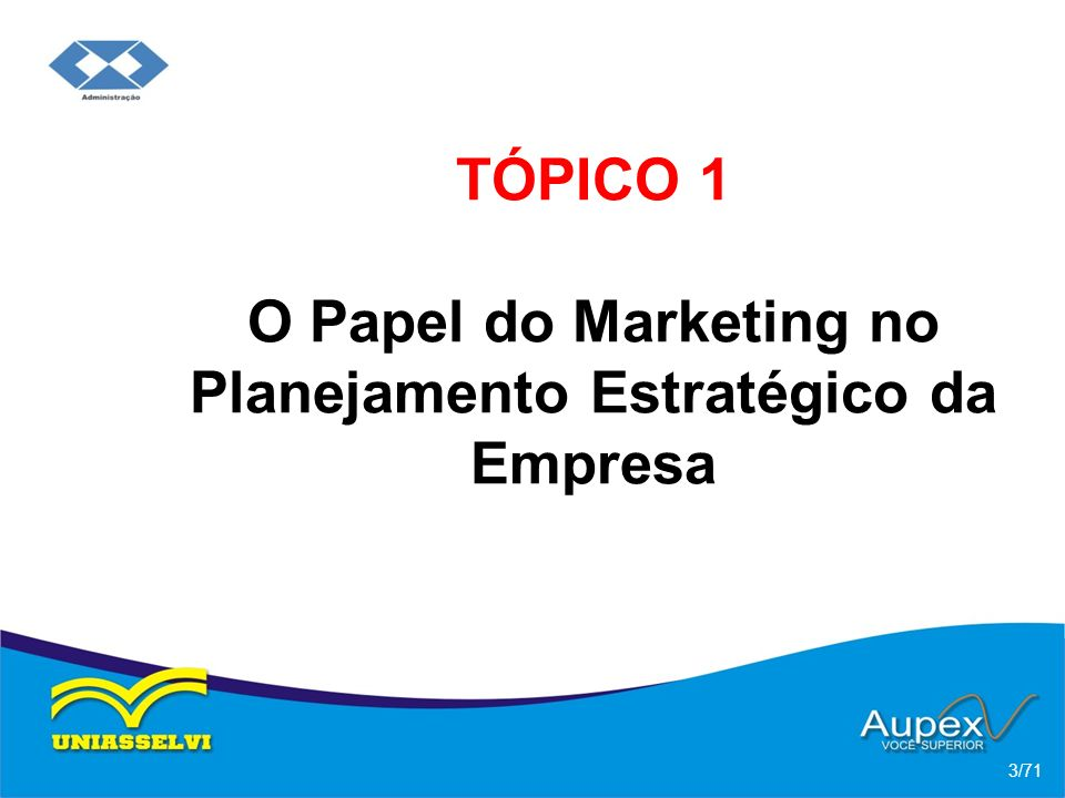 TÓPICO 1 O Papel do Marketing no Planejamento Estratégico da Empresa 3/71