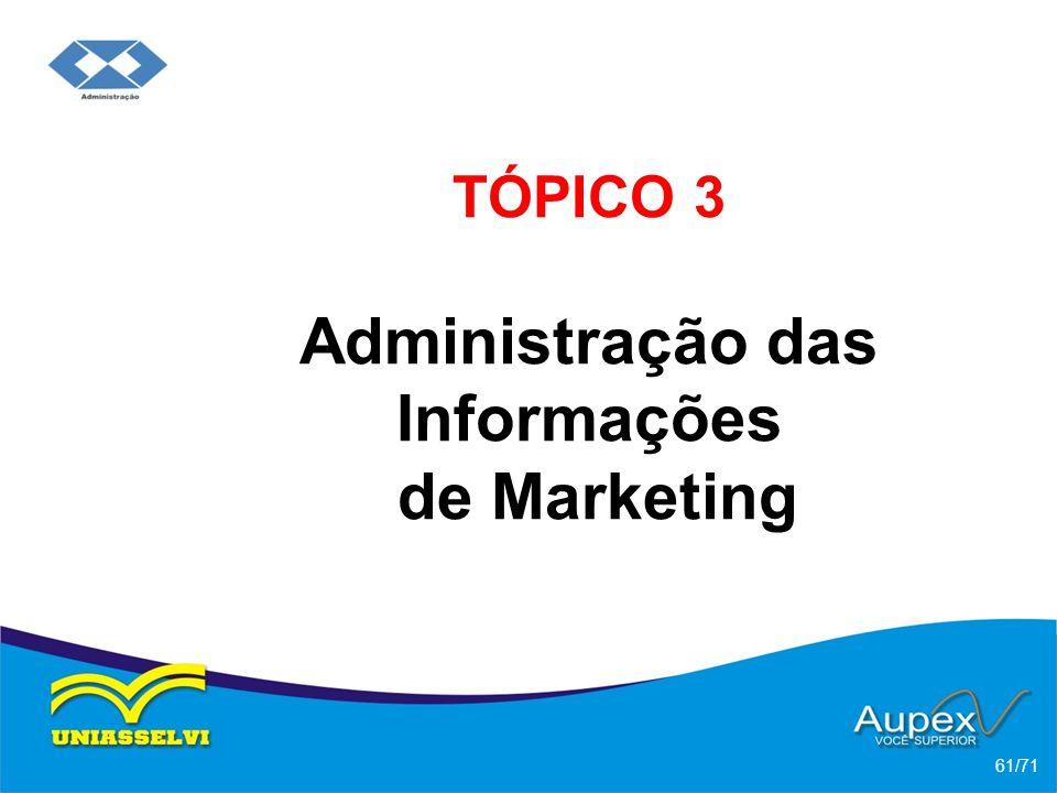 TÓPICO 3 Administração das Informações de Marketing 61/71