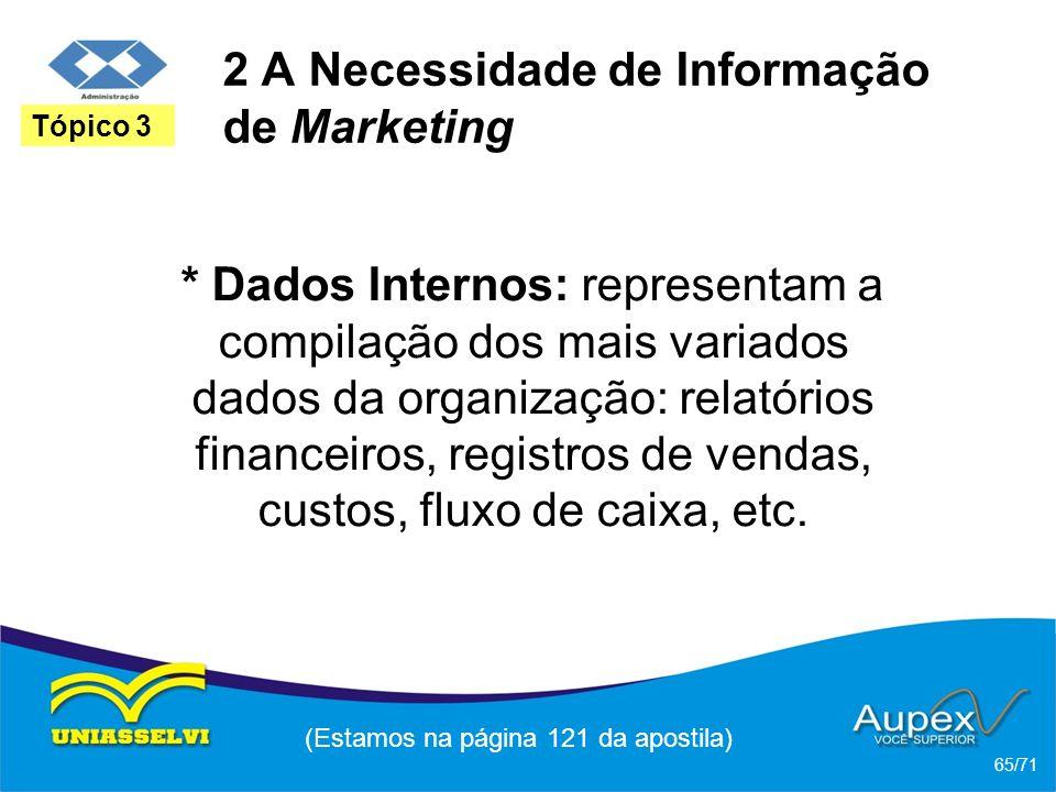 2 A Necessidade de Informação de Marketing * Dados Internos: representam a compilação dos mais variados dados da organização: relatórios financeiros,
