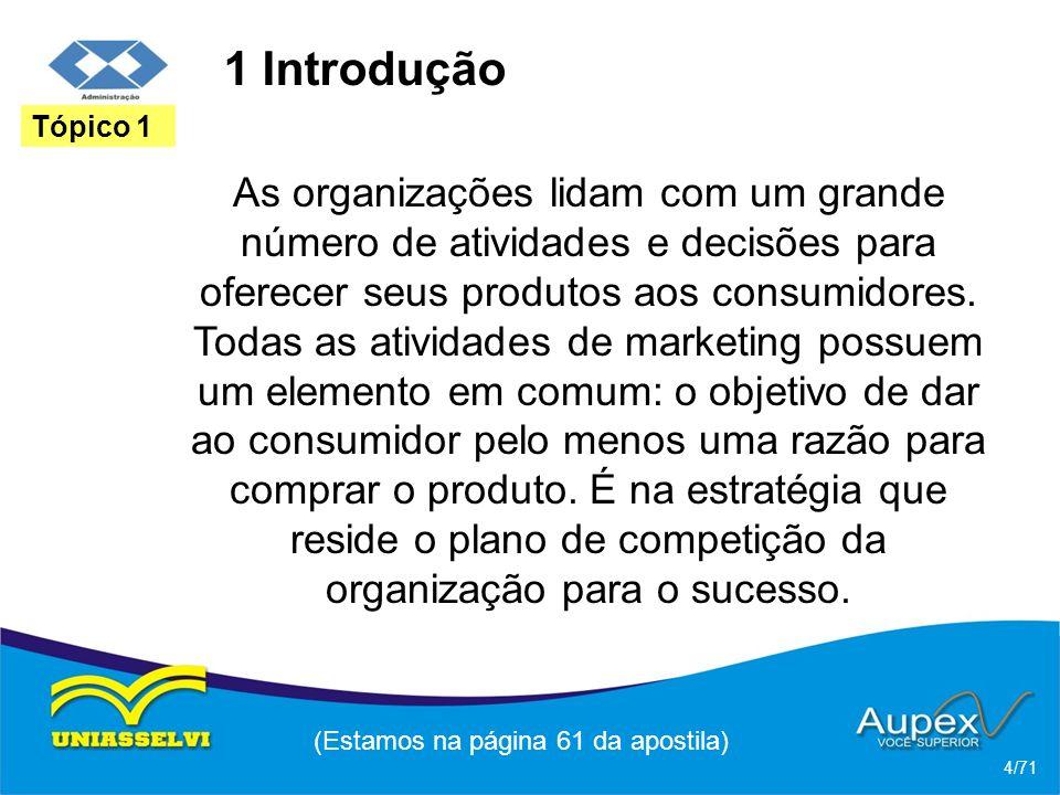 1 Introdução As organizações lidam com um grande número de atividades e decisões para oferecer seus produtos aos consumidores. Todas as atividades de