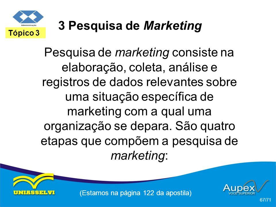 3 Pesquisa de Marketing Pesquisa de marketing consiste na elaboração, coleta, análise e registros de dados relevantes sobre uma situação específica de
