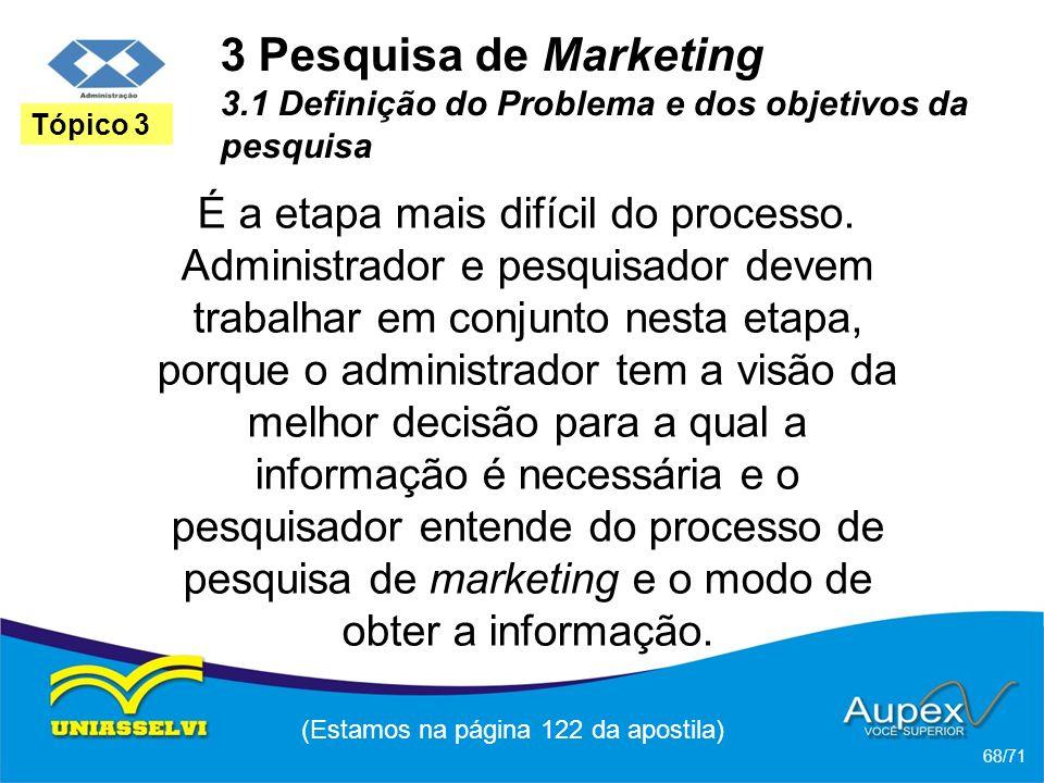 3 Pesquisa de Marketing 3.1 Definição do Problema e dos objetivos da pesquisa É a etapa mais difícil do processo. Administrador e pesquisador devem tr