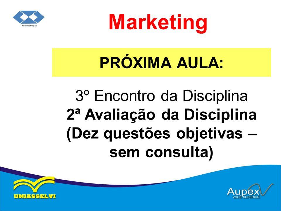 PRÓXIMA AULA: Marketing 3º Encontro da Disciplina 2ª Avaliação da Disciplina (Dez questões objetivas – sem consulta)