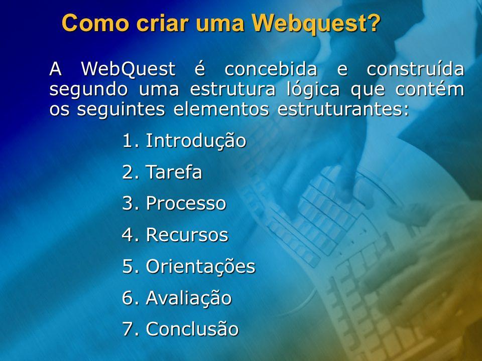 Como criar uma Webquest? A WebQuest é concebida e construída segundo uma estrutura lógica que contém os seguintes elementos estruturantes: 1.Introduçã
