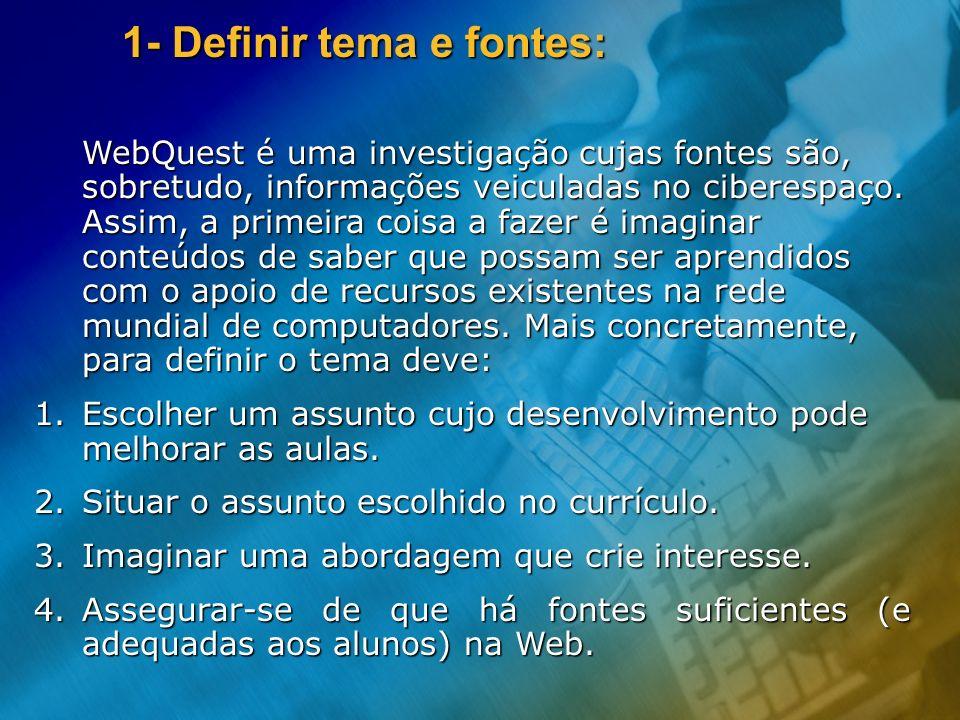 WebQuest é uma investigação cujas fontes são, sobretudo, informações veiculadas no ciberespaço. Assim, a primeira coisa a fazer é imaginar conteúdos d