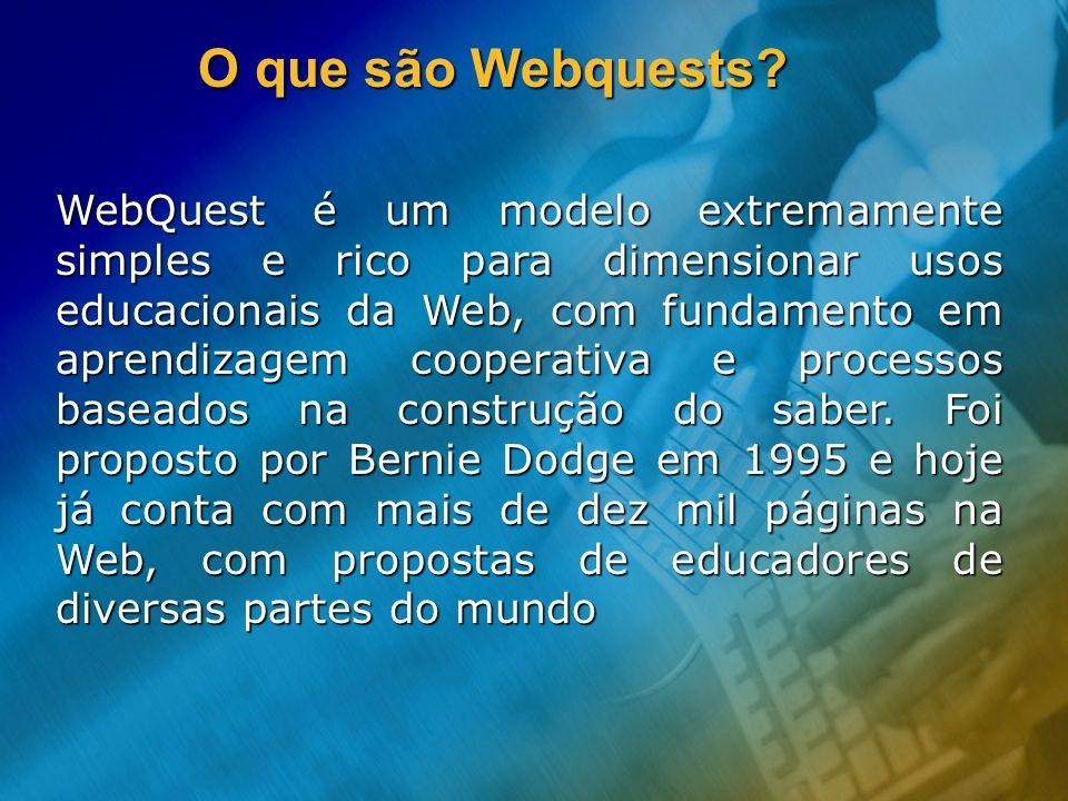 O que são Webquests? WebQuest é um modelo extremamente simples e rico para dimensionar usos educacionais da Web, com fundamento em aprendizagem cooper