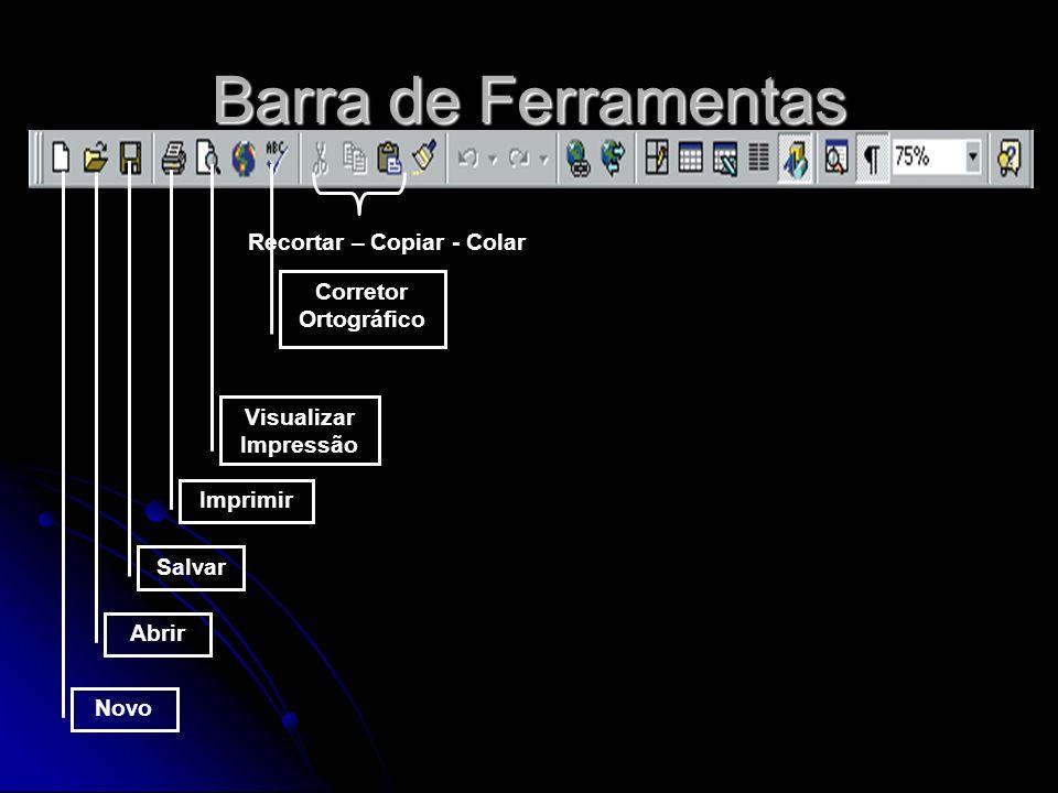 Barra de Formatação Fonte Tamanho da Fonte Negrito – Itálico - Sublinhado Alinhamento do Parágrafo Marcadores e Numeração Cor da fonte Cor da Linha