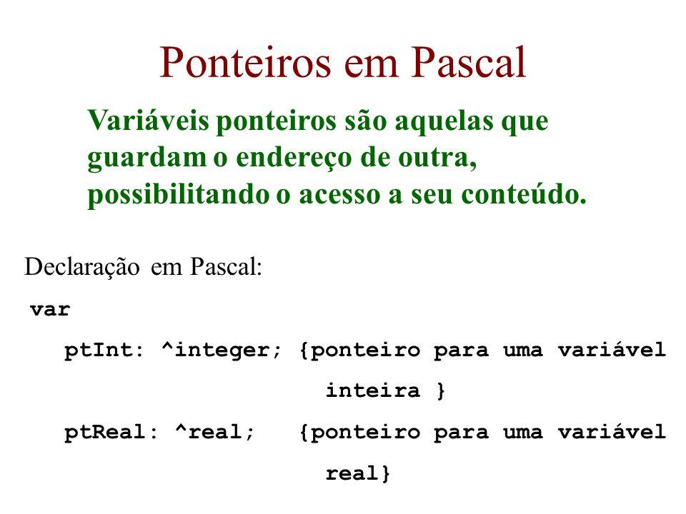Ponteiros em Pascal Variáveis ponteiros são aquelas que guardam o endereço de outra, possibilitando o acesso a seu conteúdo. Declaração em Pascal: var