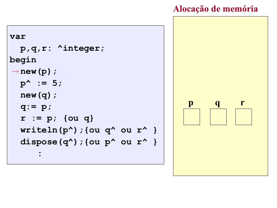 var p,q,r: ^integer; begin new(p); p^ := 5; new(q); q:= p; r := p; {ou q} writeln(p^);{ou q^ ou r^ } dispose(q^);{ou p^ ou r^ } : Alocação de memória p q r