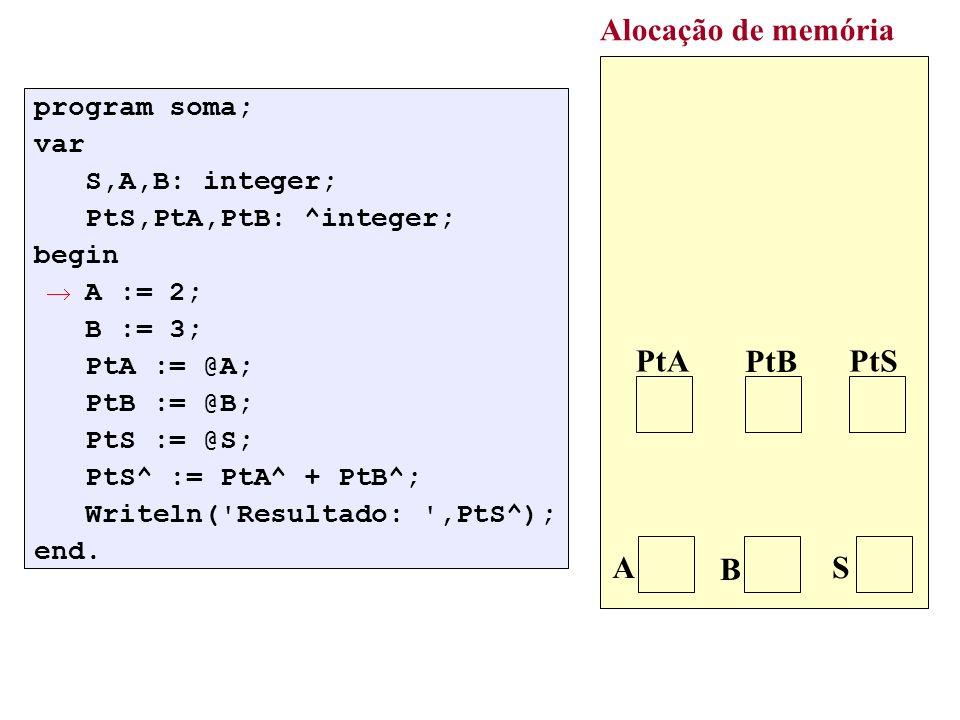 var p,q: tPtNo; begin new(p); p^.Dado := 7; new(q); q^.Dado := 3; p^.Prox := q; q^.Prox := nil; : Exemplo de uso: criação de uma lista com dois elementos: p^.Prox acesso ao objeto apontado por p acesso ao campo específico
