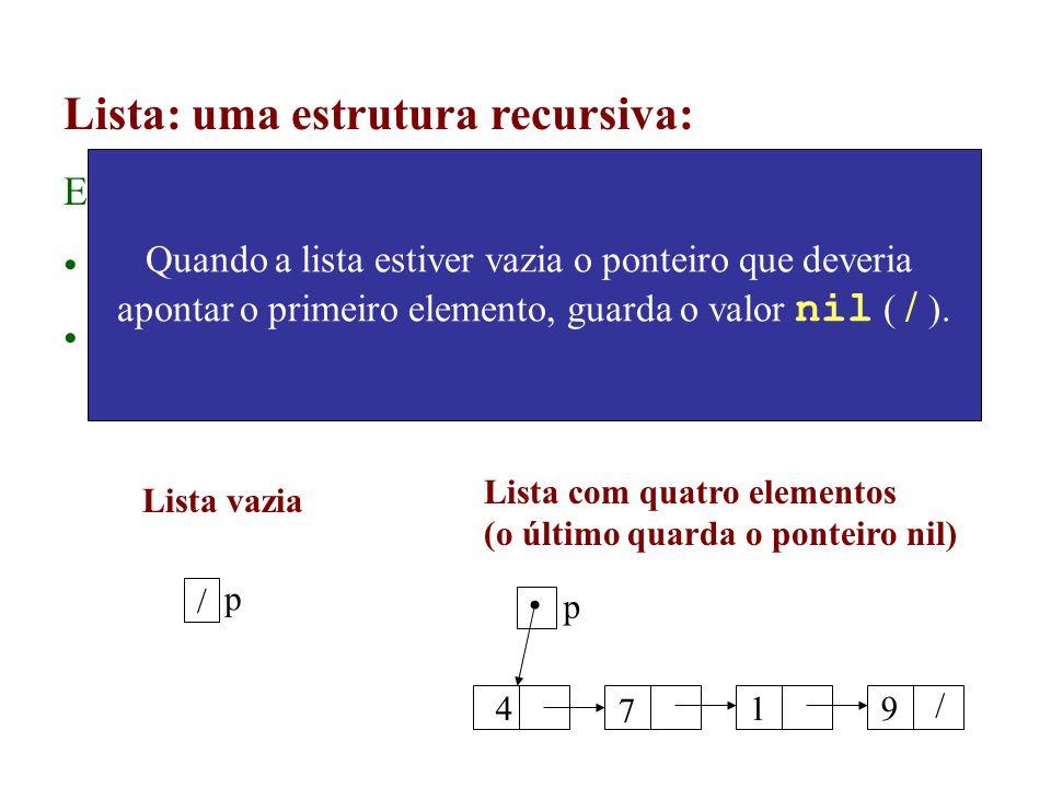 Lista: uma estrutura recursiva: Ex: definição de uma lista de inteiros: Lista vazia; Um inteiro seguido de uma lista de inteiros. p / 4 7 19 / p Lista