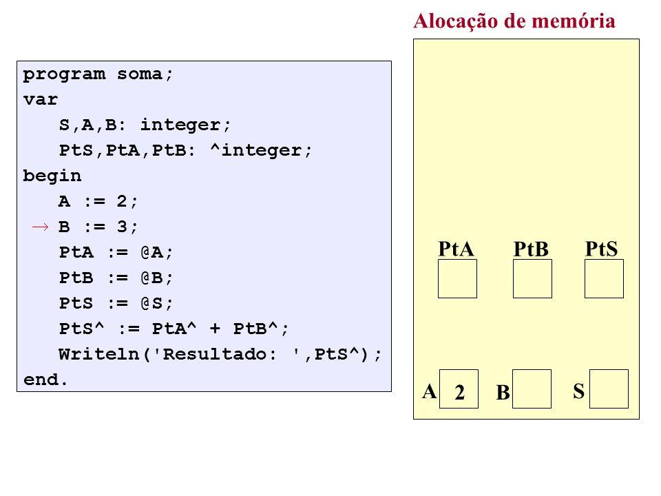 : new(p); p^.Dado:=V; p^.Prox:=nil; Alocação de memória p V 5 5