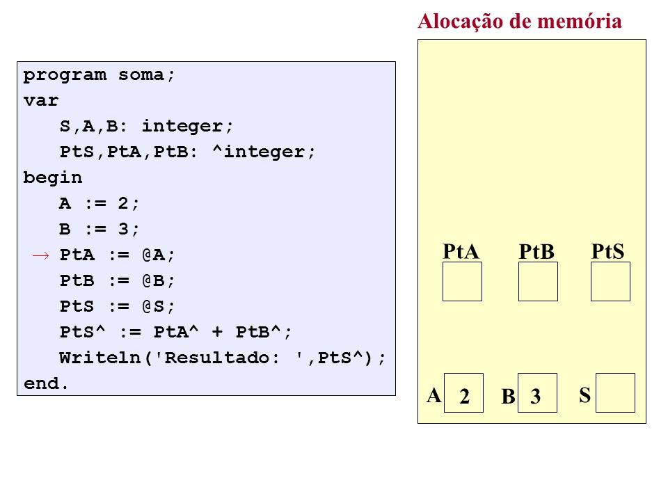 : q:= p; while q^.Prox <> nil do q:=q^.Prox; new(r); r^.Dado:=V; r^.Prox:=nil; q^.Prox:=r; Alocação de memória p 7 3 / q 2 r V 5 5