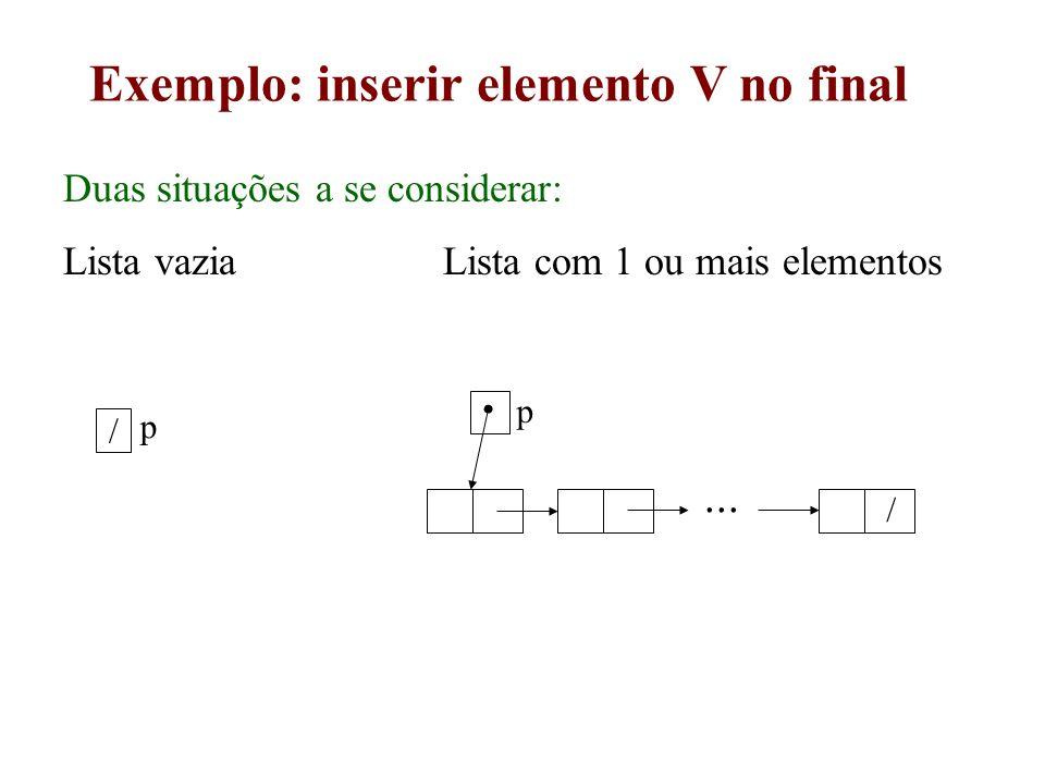 Exemplo: inserir elemento V no final Duas situações a se considerar: Lista vazia Lista com 1 ou mais elementos p / / p...