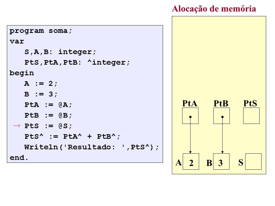 : q:= p; while q^.Prox <> nil do q:=q^.Prox; new(r); r^.Dado:=V; r^.Prox:=nil; q^.Prox:=r; Alocação de memória p 7 3 q 2 r V 5 5 /