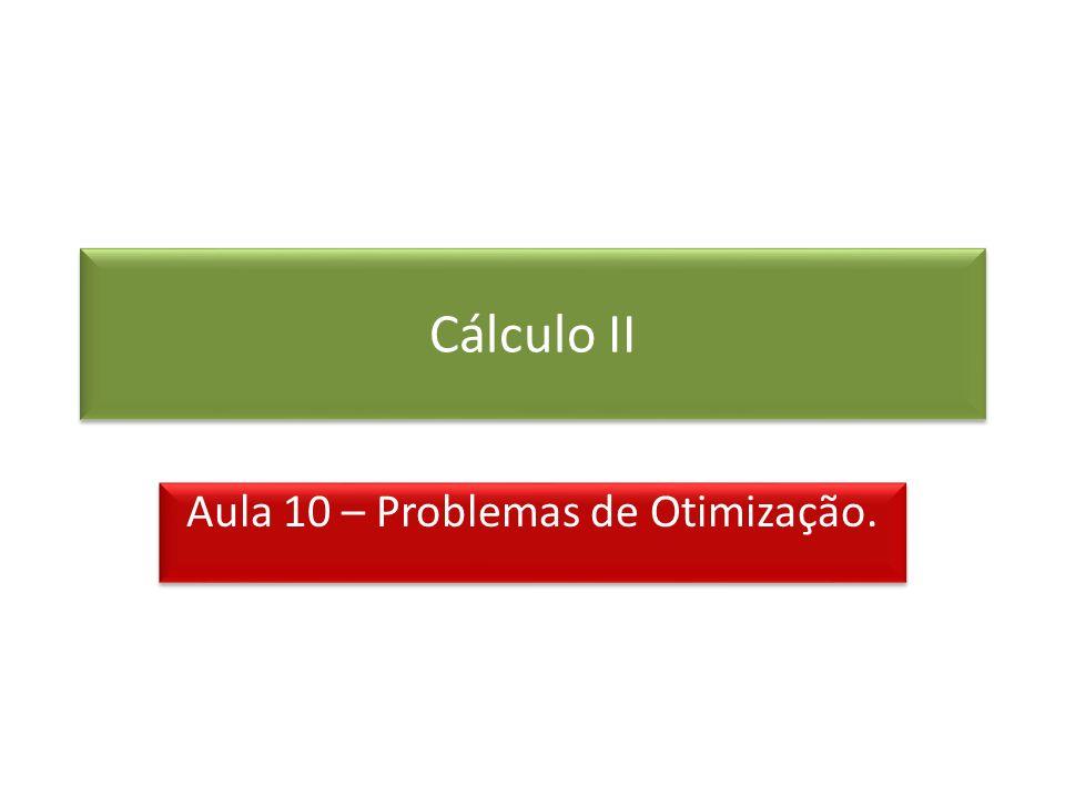 Cálculo II Aula 10 – Problemas de Otimização.