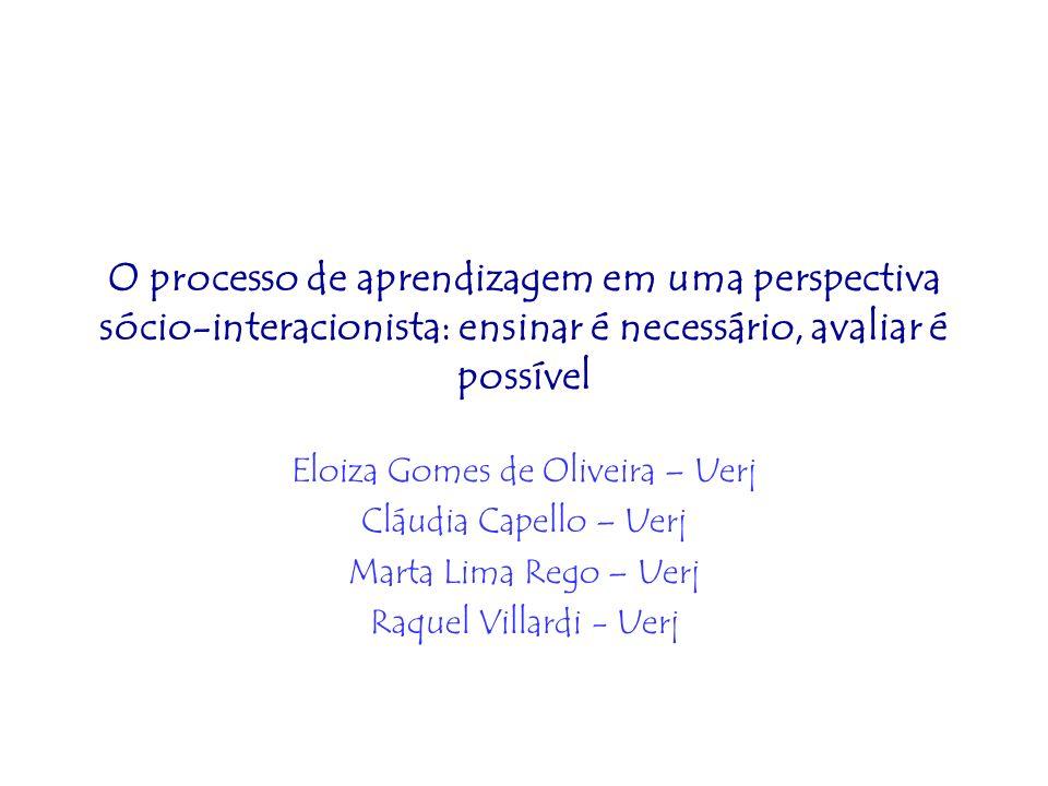 O processo de aprendizagem em uma perspectiva sócio-interacionista: ensinar é necessário, avaliar é possível Eloiza Gomes de Oliveira – Uerj Cláudia C