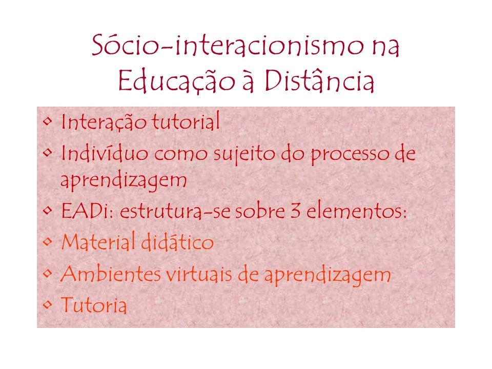 Sócio-interacionismo na Educação à Distância Interação tutorial Indivíduo como sujeito do processo de aprendizagem EADi: estrutura-se sobre 3 elemento