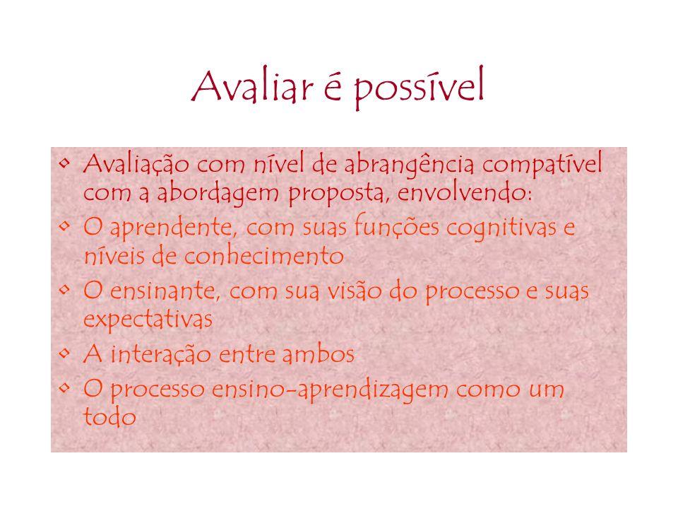 Avaliar é possível Avaliação com nível de abrangência compatível com a abordagem proposta, envolvendo: O aprendente, com suas funções cognitivas e nív