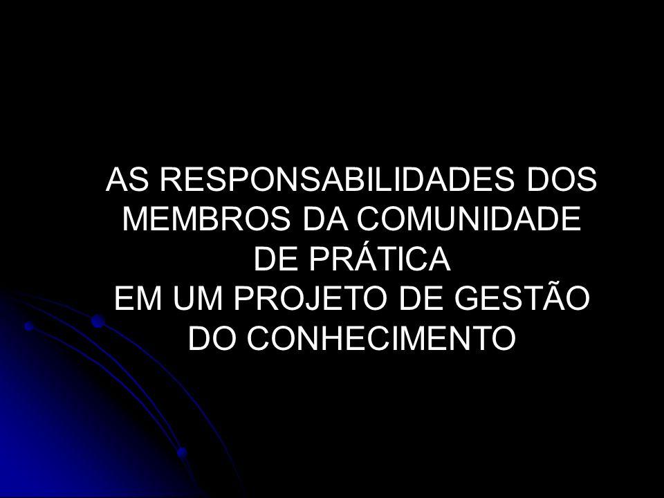 AS RESPONSABILIDADES DOS MEMBROS DA COMUNIDADE DE PRÁTICA EM UM PROJETO DE GESTÃO DO CONHECIMENTO