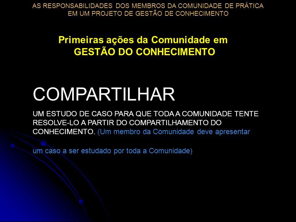 COMPARTILHAR UM ESTUDO DE CASO PARA QUE TODA A COMUNIDADE TENTE RESOLVE-LO A PARTIR DO COMPARTILHAMENTO DO CONHECIMENTO.