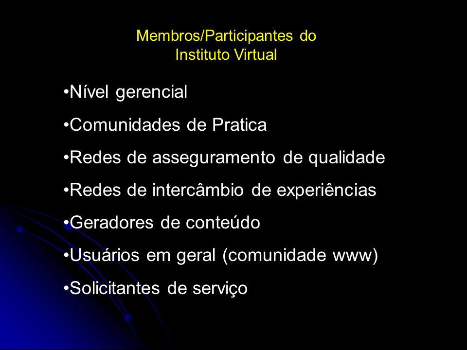 Membros/Participantes do Instituto Virtual Nível gerencial Comunidades de Pratica Redes de asseguramento de qualidade Redes de intercâmbio de experiências Geradores de conteúdo Usuários em geral (comunidade www) Solicitantes de serviço