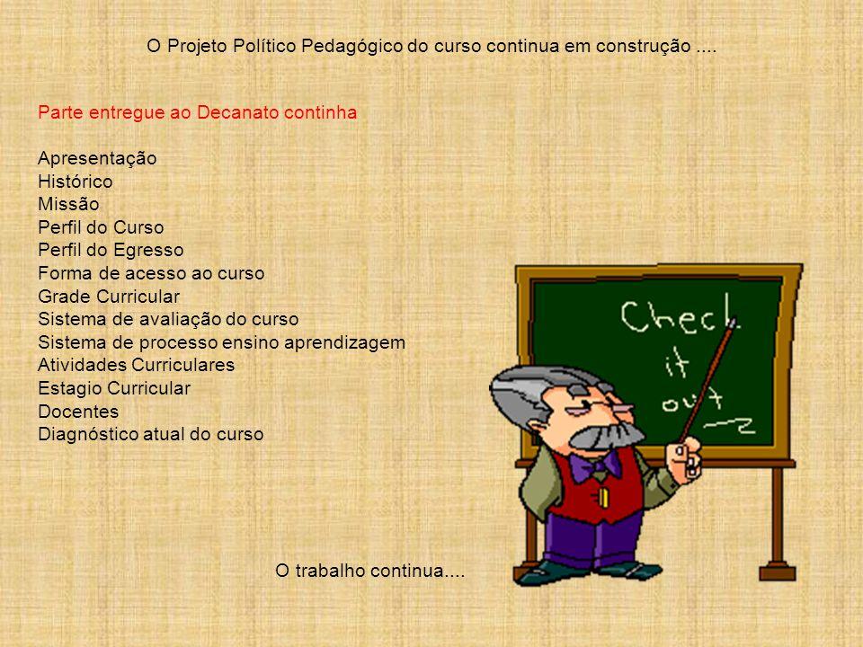O Projeto Político Pedagógico do curso continua em construção.... Parte entregue ao Decanato continha Apresentação Histórico Missão Perfil do Curso Pe