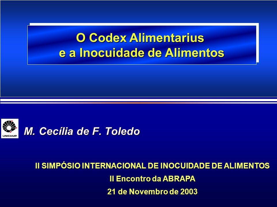 M. Cecília de F. Toledo M. Cecília de F. Toledo II SIMPÓSIO INTERNACIONAL DE INOCUIDADE DE ALIMENTOS II Encontro da ABRAPA 21 de Novembro de 2003 O Co