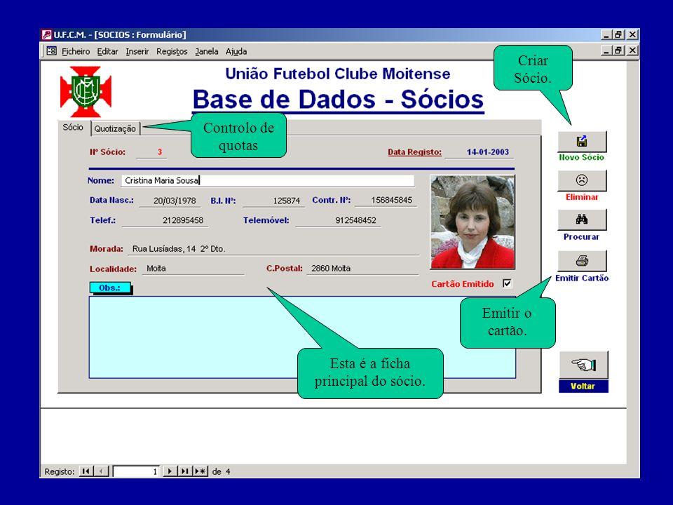 Página de controlo das quotas. Datas dos pagamentos. Voltar à ficha principal