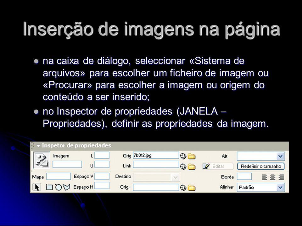 Inserção de imagens na página na caixa de diálogo, seleccionar «Sistema de arquivos» para escolher um ficheiro de imagem ou «Procurar» para escolher a