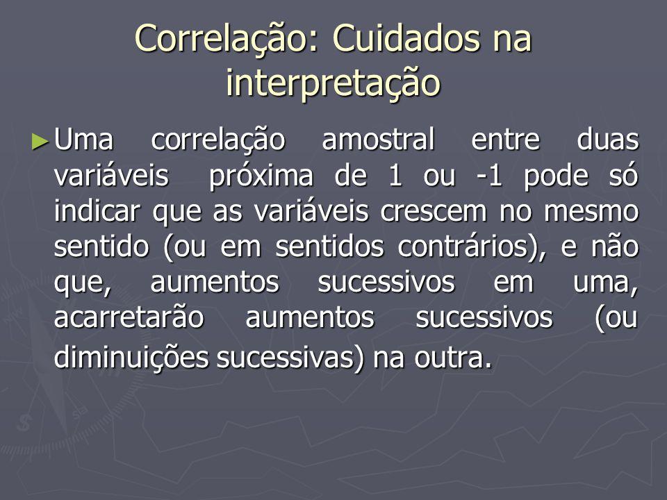 Correlação: Cuidados na interpretação Uma correlação amostral entre duas variáveis próxima de 1 ou -1 pode só indicar que as variáveis crescem no mesm