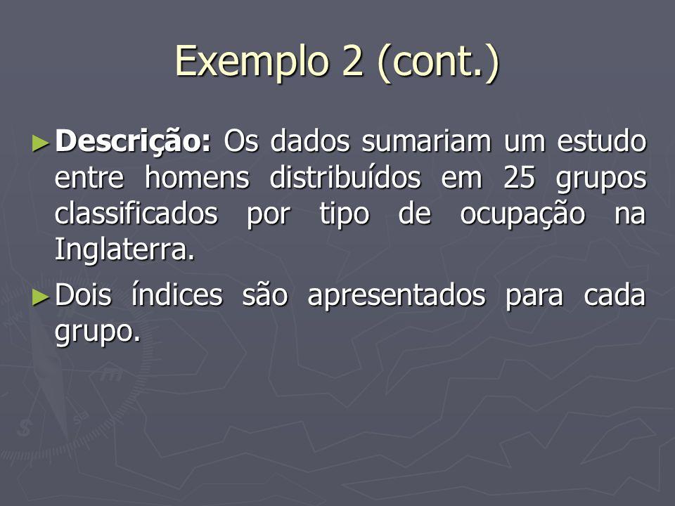Exemplo 2 (cont.) Descrição: Os dados sumariam um estudo entre homens distribuídos em 25 grupos classificados por tipo de ocupação na Inglaterra. Desc
